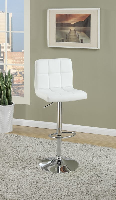 F1566 Set of 2 Kossini collection contemporary style white grid pattern faux leather adjustable swivel bar stool