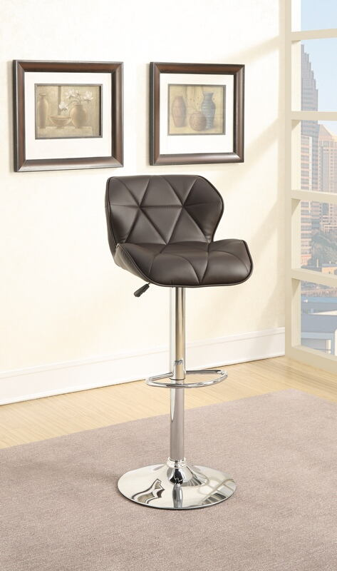 F1587 Set of 2 kossini collection contemporary style dark brown diamond back faux leather adjustable swivel bar stool
