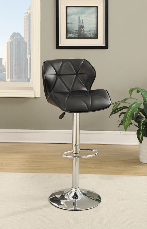 F1588 Set of 2 kossini collection contemporary style black diamond back faux leather adjustable swivel bar stool