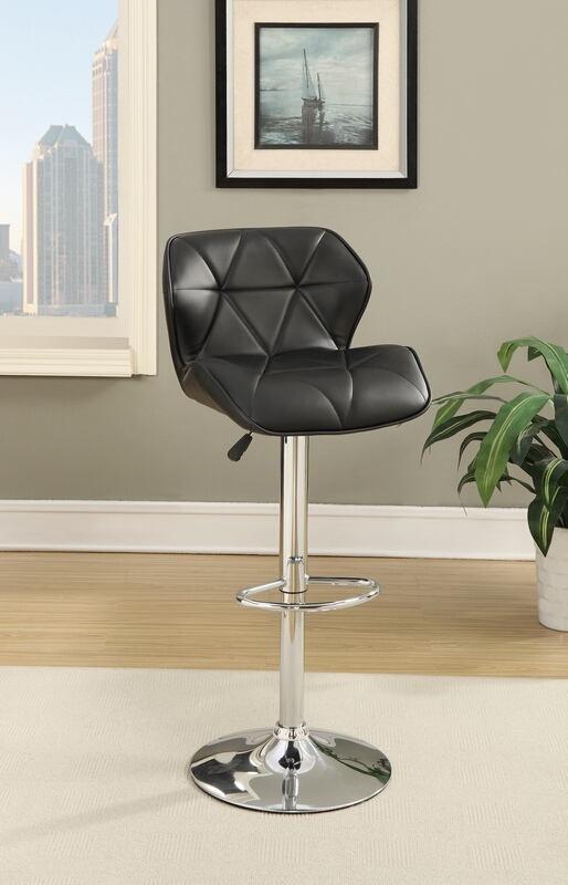 F1588 Set of 2 Kossini collection contemporary style black diamond back faux leather adjustable swivel bar stool