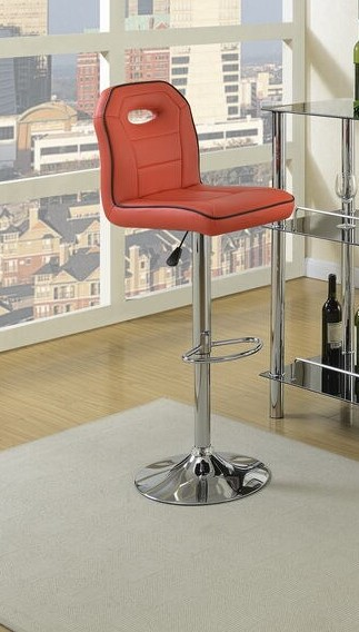 F1624 Set of 2 kossini collection red and black piping trim faux leather adjustable swivel bar stool