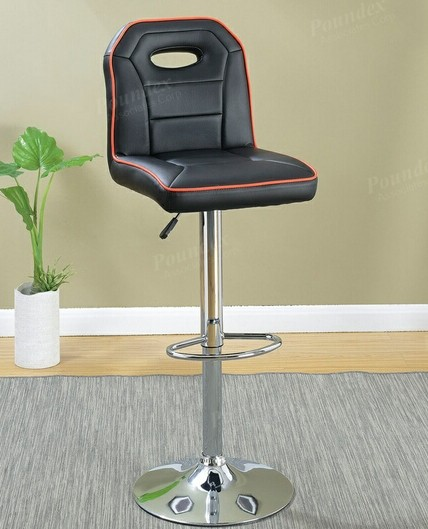 Wondrous Poundex F1629 Set Of 2 Kossini Black And Red Piping Trim Faux Leather Adjustable Swivel Bar Stool Lamtechconsult Wood Chair Design Ideas Lamtechconsultcom