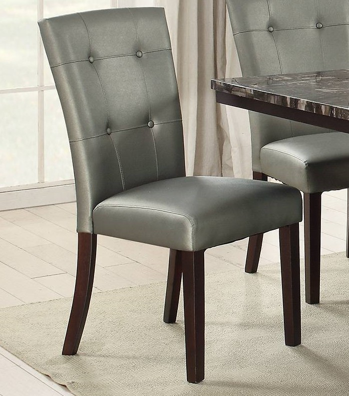 Poundex F1752 Set of 2 Drake silvery grey faux leather dining chairs tufted backs