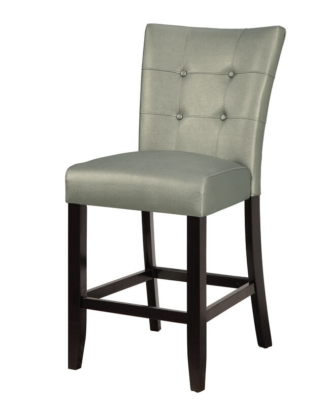 Wondrous Poundex F1756 Set Of 2 Drake Silver Faux Leather Counter Height Bar Chairs Tufted Back Squirreltailoven Fun Painted Chair Ideas Images Squirreltailovenorg
