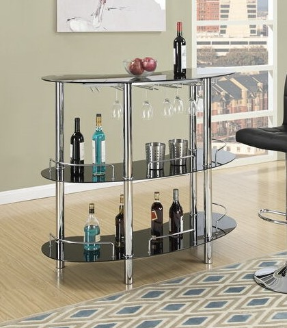 F2053 3 tier moderna collection black glass and chrome metal bar table with glass racks
