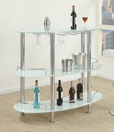 F2059 3 tier moderna collection white glass and chrome metal bar table with glass racks