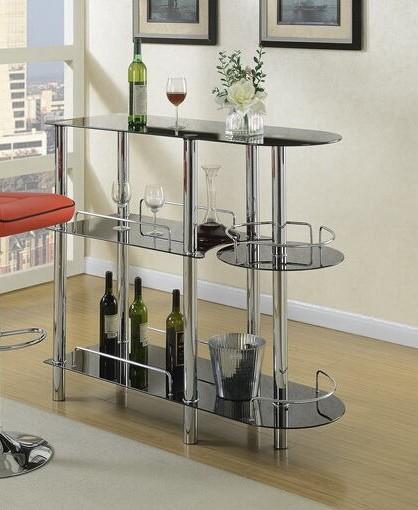 F2114 3 tier moderna II collection black glass and chrome metal bar table with glass racks
