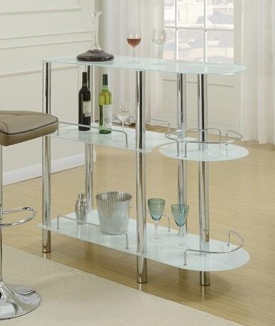 F2120 3 tier moderna II collection white glass and chrome metal bar table with glass racks