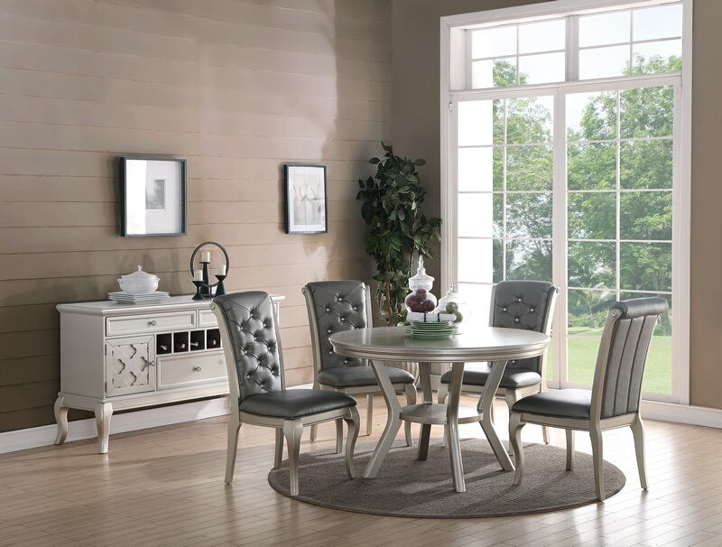 F2150-1540 5 pc bridget ii collection silvery tone finish wood round dining table set with padded seats
