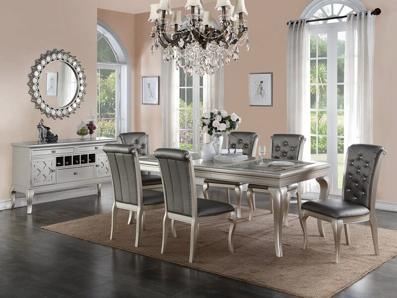 F2151-1540 7 pc bridget ii collection silvery tone finish wood dining table set with padded seats