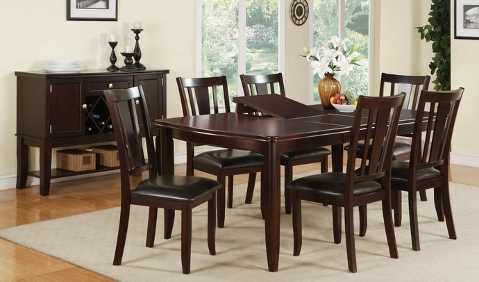 F2179-1285 7 pc Barista II collection dark rosy brown wood finish dining table with butterfly leaf