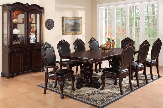 F2182-1395-1396 7 pc Kathryn II collection dark brown finish wood double pedestal dining table set with vinyl seats