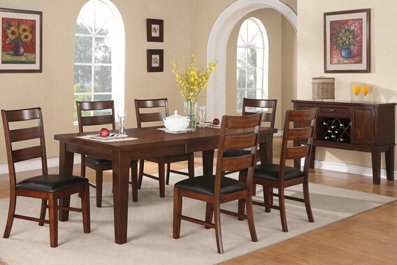 F2207 7 pc antique walnut finish wood dining table set with leaf