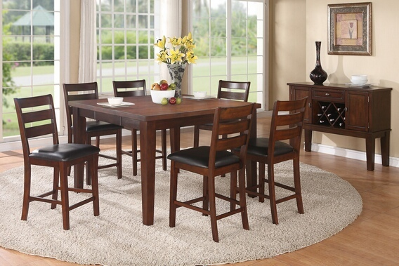 F2208 7 pc antique walnut finish wood counter height dining table set with leaf