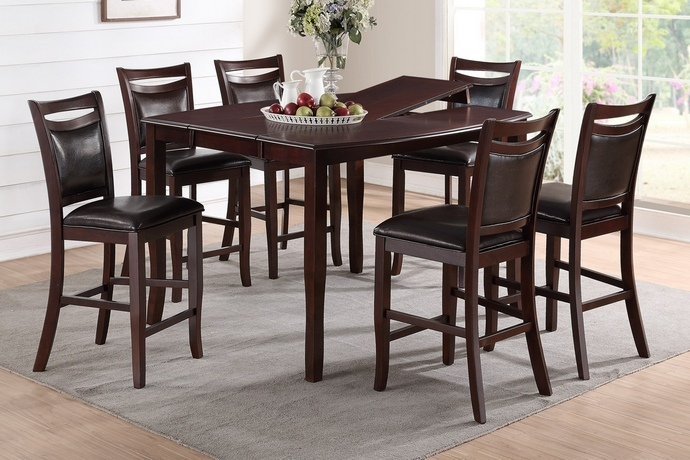 F2238-1389 7 pc Conrad II collection dark brown wood finish counter height dining table with butterfly leaf