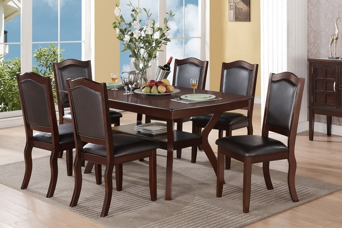 F2290-1338 7 pc Freemont collection dark espresso finish wood dining table set with padded seats