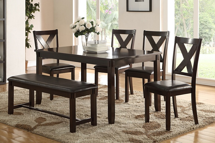 F2297 6 pc Bridget II collection espresso finish wood dining table set with padded seat chairs and bench