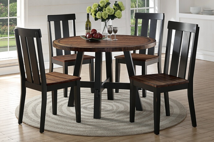 F2322-1571 5 pc bridget i collection two tone antiqued oak and black finish wood round dining table set