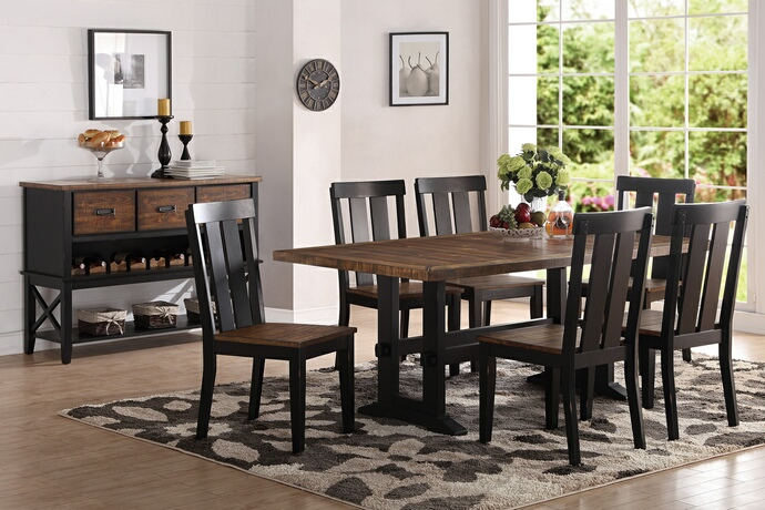 F2323-1571 7 pc Bridget I collection two tone antiqued oak and black finish wood dining table set