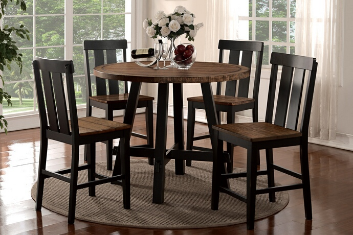 F2324-1572 5 pc Bridget I collection two tone antiqued oak and black finish wood round counter height dining table set
