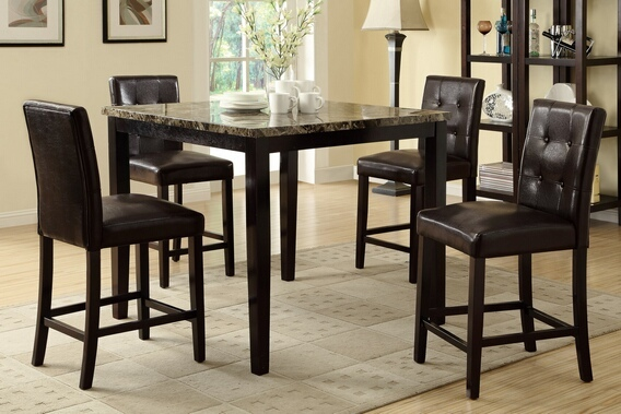 F2339-F1144 5 pc square faux marble espresso finish wood counter height dining table set with espresso faux leather upholstered chairs