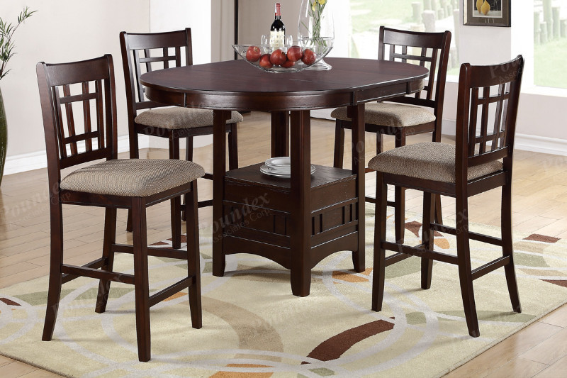 Poundex F2345-1205 5 pc barista II dark rosy brown finish wood roud / oval counter height dining table set