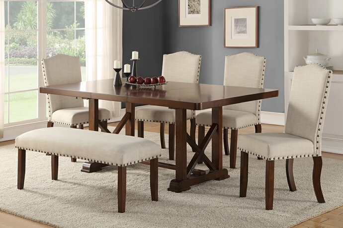 F2398-1546-1548 6 pc Bridget IIi collection dark cherry finish wood dining table set with padded seats nail head trim accents