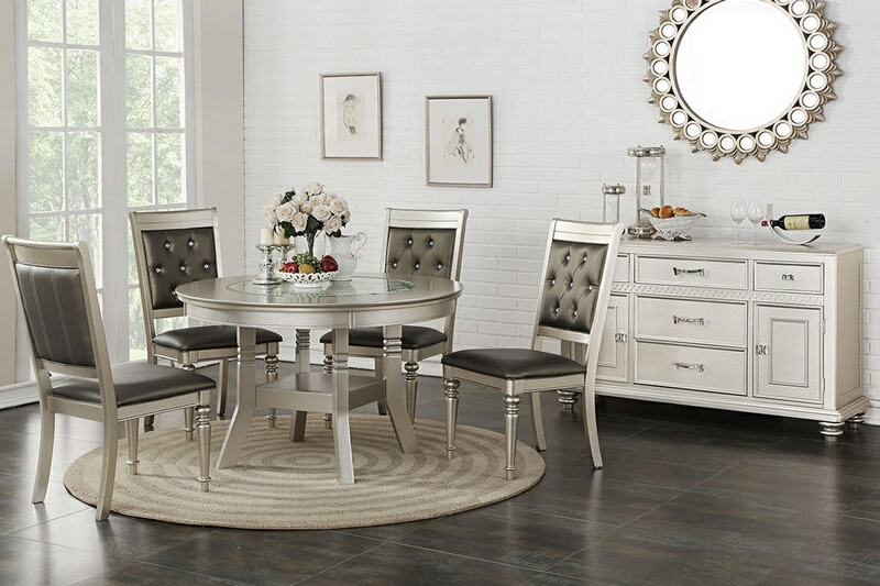 F2428-1705 5 pc Silverstry collection silver finish wood round dining table set with glass