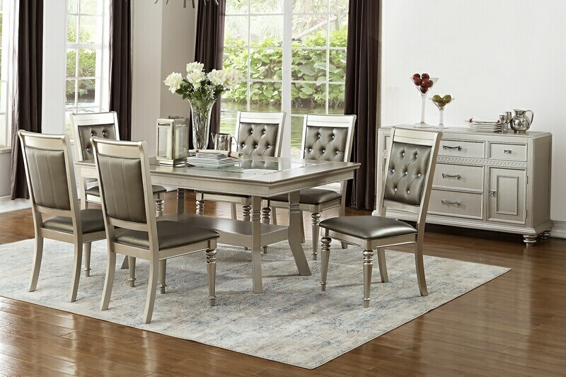 F2430-1705 7 pc silverstry collection silver tone finish wood dining table set with glass top