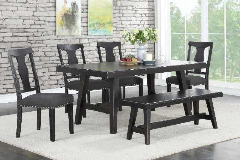 F2481 1772 1776 6 Pc Ophelia Ii Black Finish Wood Dining Table Set With Bench