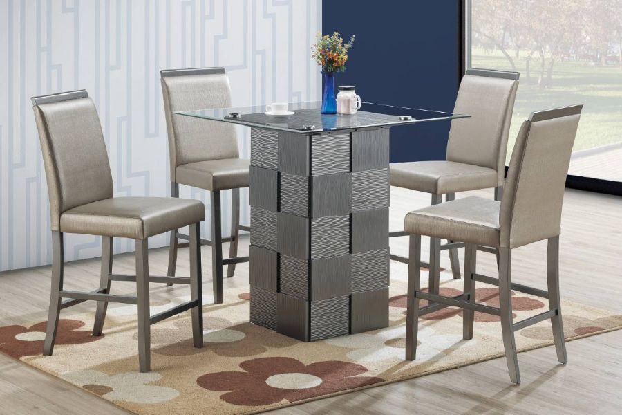 Poundex F2482-1781 5 pc park avenue ii silvery metallic finish wood counter height glass top table set