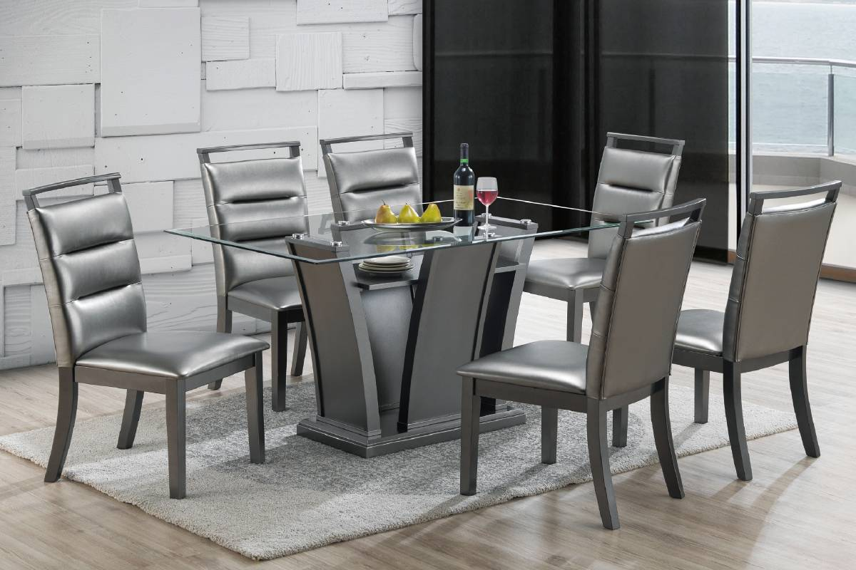 Poundex F2483-1784 7 pc park avenue ii silvery metallic finish wood dining table set with glass top