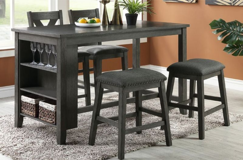 Poundex F2488-1790 5 pc Wildon studio janie gray finish solid acacia wood and fabric counter height dining table set