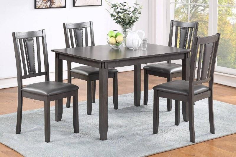 Poundex F2540 5 pc pack bridget dark finish wood dining table set padded seat chairs