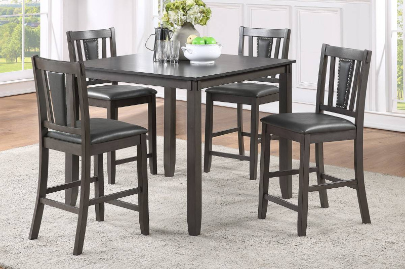 Poundex F2543 5 pc pack bridget dark finish wood counter height dining table set padded seat chairs