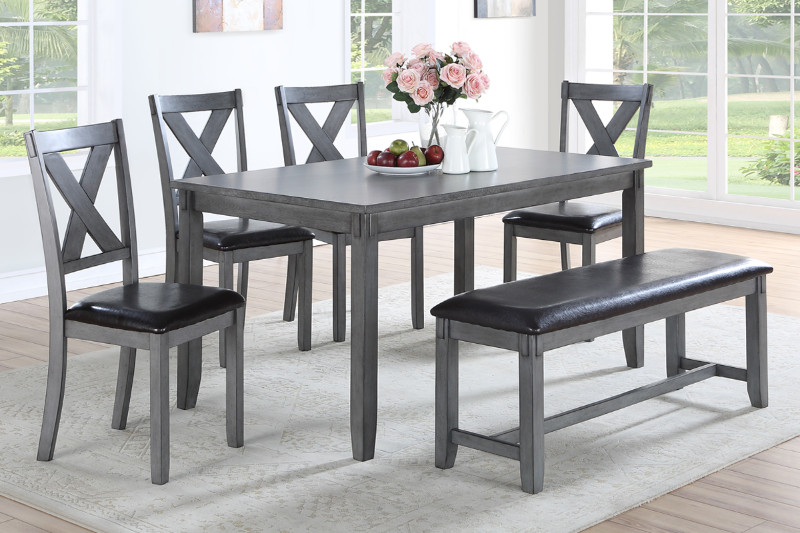 Poundex F2548 6 pc bridget gray finish wood dining table set padded seat chairs and bench