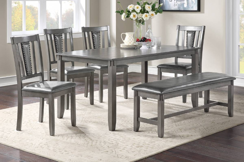 Poundex F2549 6 pc bridget ii grey finish wood dining table set padded seat chairs and bench