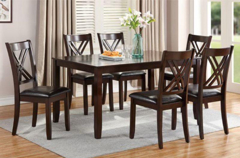 Poundex F2554 7 pc Hester blanc espresso finish wood rectangular dining table set