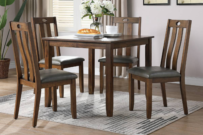 Poundex F2558 5 pc Wildon studio brown finish wood and fabric upholstery dining table set