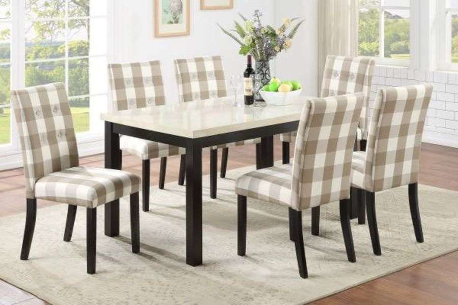 Poundex F2566-1810 7 pc avenue ii espresso finish wood table faux marble top and checkered chairs