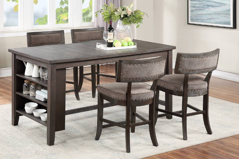 Poundex F2568-1824 5 pc Clive studios distressed gray wood finish counter height dining table set with bookcase