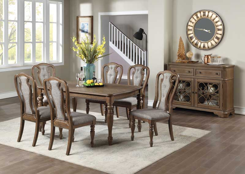 Poundex F2572-1827 7 pc Gray barn rooney kayley medium oak finish wood dining table set