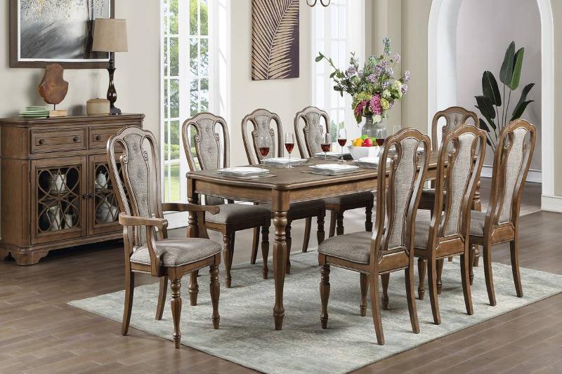 Poundex F2573-1827-28 7 pc Gray barn rooney kayley medium oak finish wood dining table set