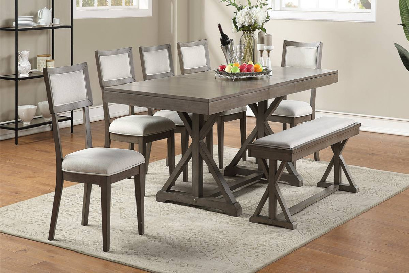Poundex F2577-1834-35 6 pc Wildon home grey finish wood dining table set with bench