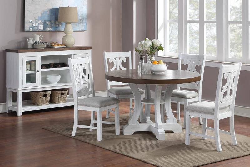 """Poundex F2580-1838 5 pc Freida II white finish wood 54"""" round dining table set trestle base"""