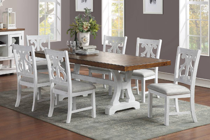 Poundex F2581-1838 7 pc Freida II white finish wood dining table set trestle base