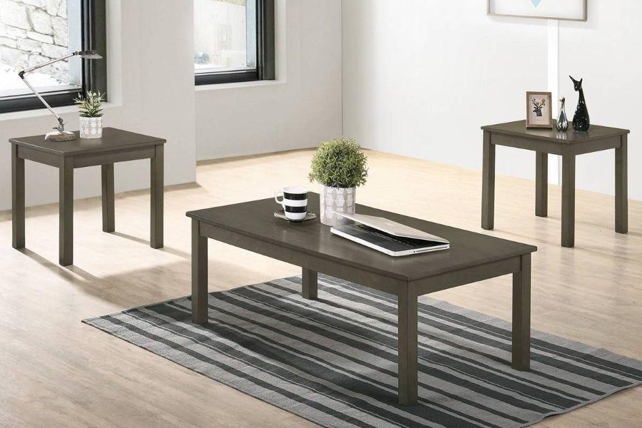 Poundex F3190 3 pc Charlton home bradford wood coffee and end table set