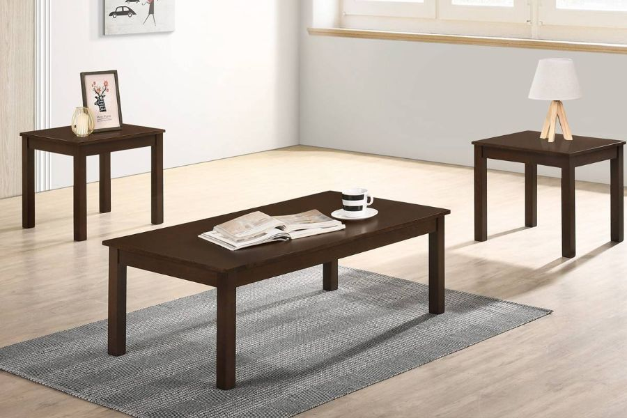 Poundex F3191 3 pc Charlton home bradford wood coffee and end table set