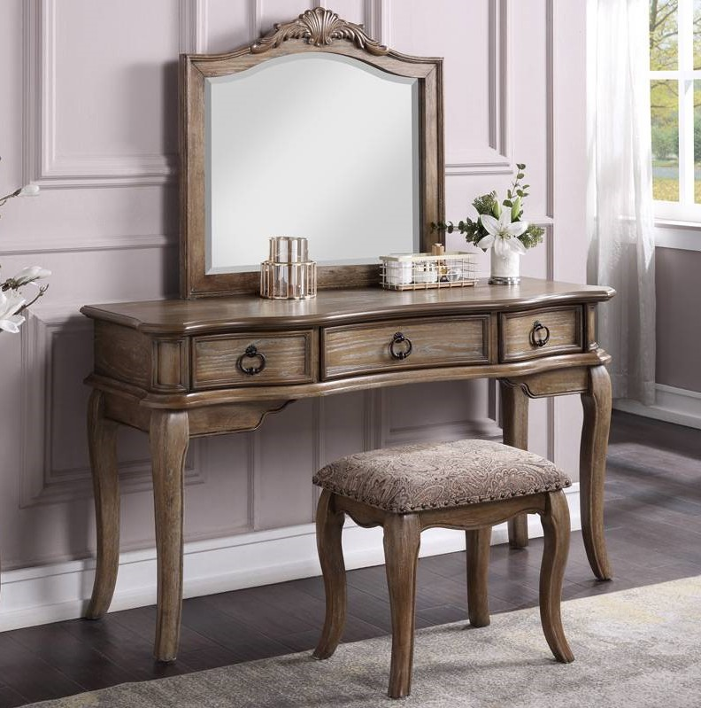 Poundex F4044 3 pc Waldork park huitt antique oak finish wood make up bedroom vanity set , stool and mirror