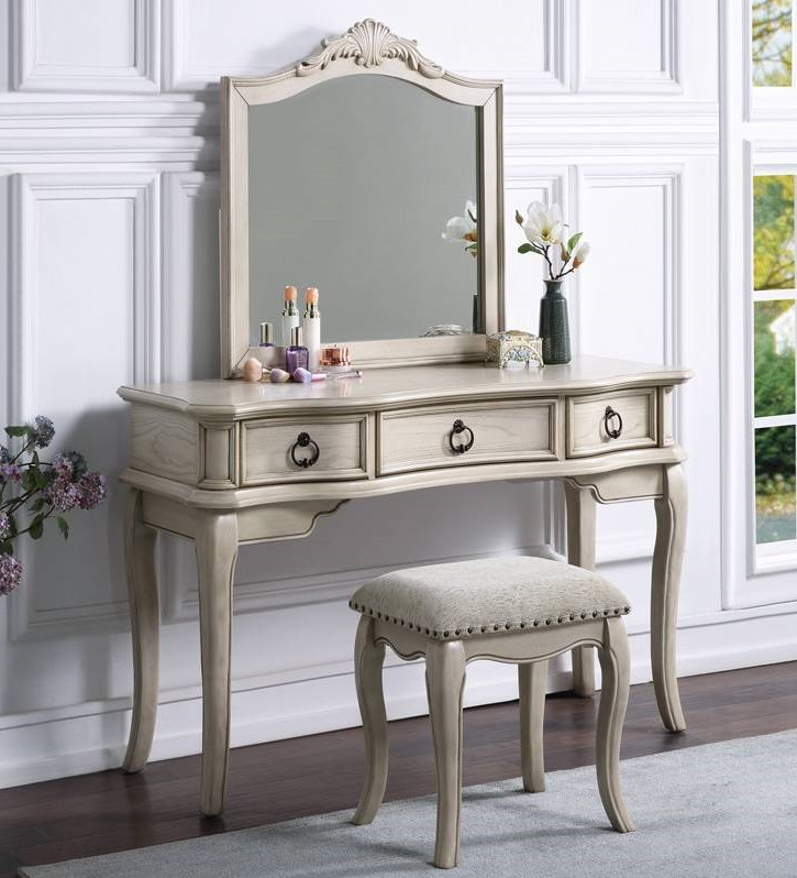 Poundex F4054 3 pc Waldork park huitt antique white finish wood make up bedroom vanity set , stool and mirror